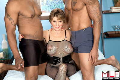 Mature lady Bea Cummins fucks not one but two black studs at the same time