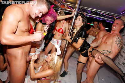 Stupendous party sluts enjoy a wild groupsex with male strippers