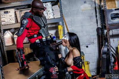 Masked Asian chick Asa Akira getting fucked by black dude in biker gear