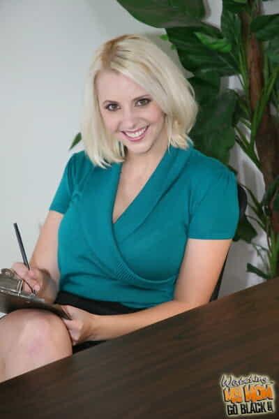 Big boobed blonde secretary Mandy Sweet bangs a BBC afore her boss