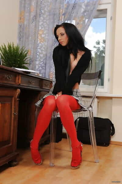 Gina removes panties at the office to play with her needy peach
