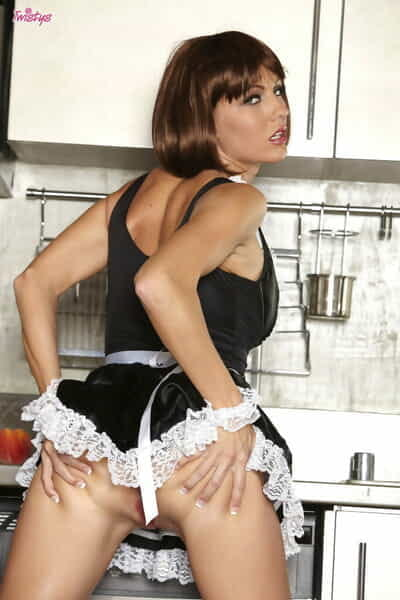Sexy maid in stockings Cody Love teasing and spreading her pussy