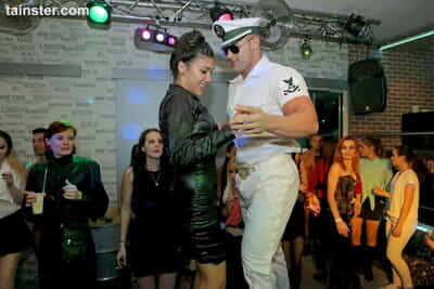 Party sluts ride cock & practice their handjob techniques in public club