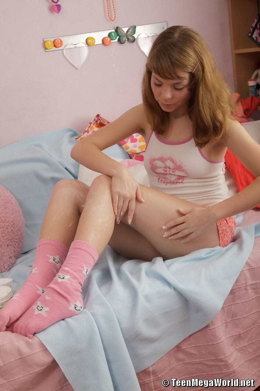 Charming teen Aglaya shows off her cum filled pussy after being fucked