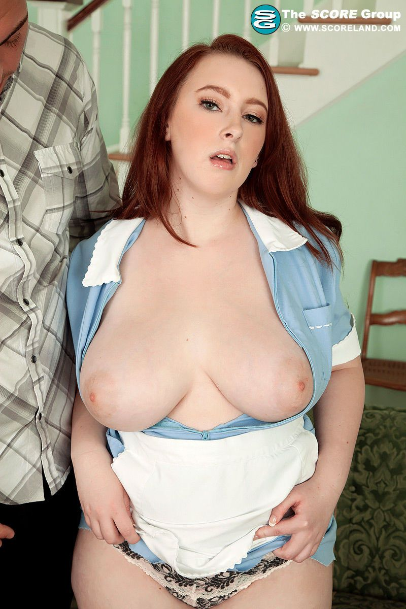 Big busty fatty mature Felicia Clover in maid uniform baring phat ass