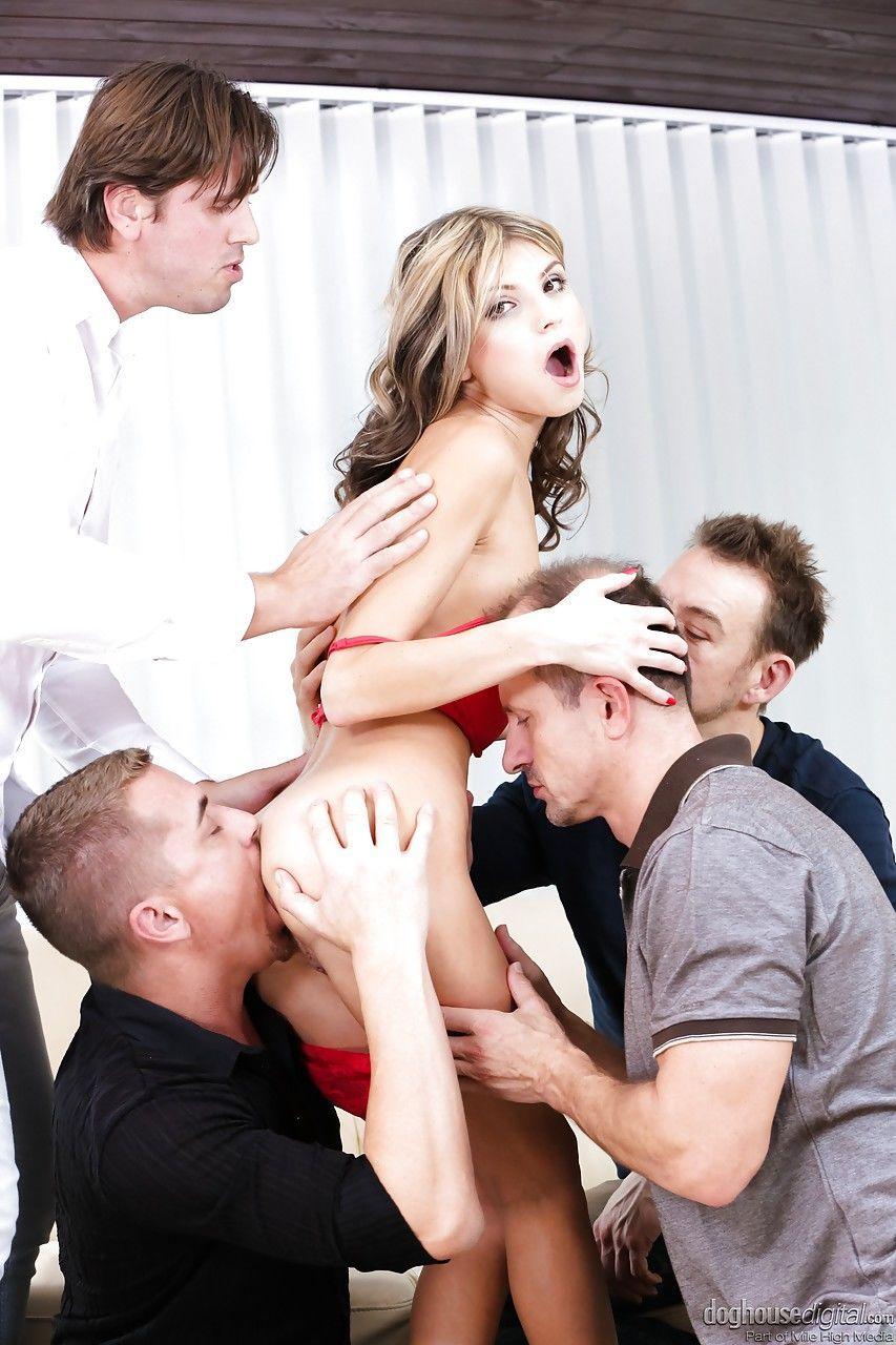 Sexy Euro Gina Gerson sucks big cock & gets ass fucked in hot blowbang