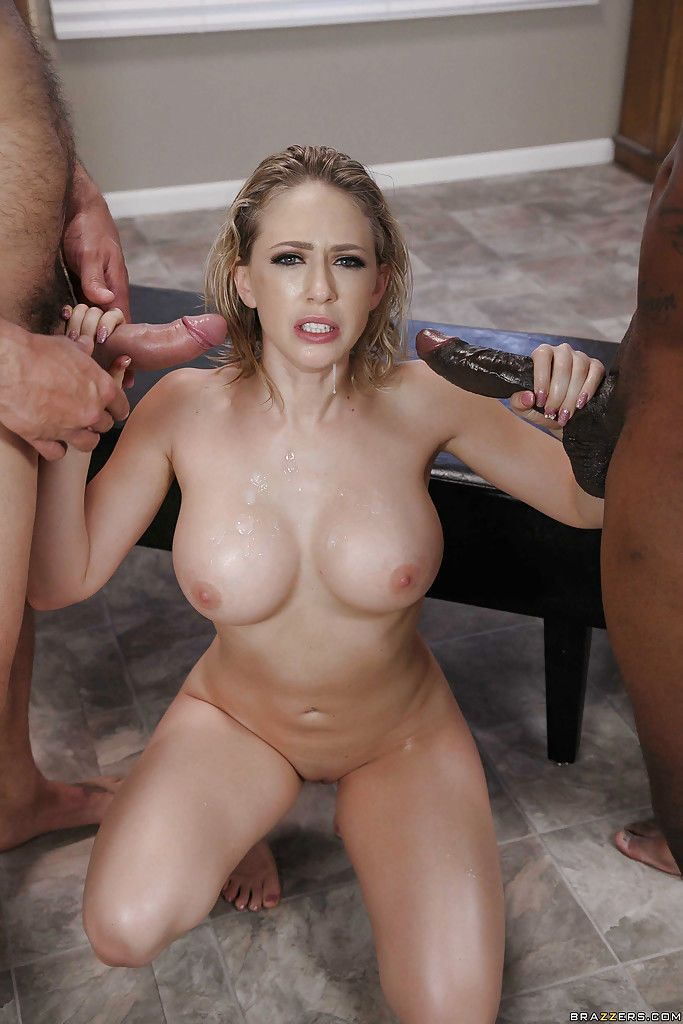 Beautiful blonde Kagney Linn Karter getting fucked by white and black cock
