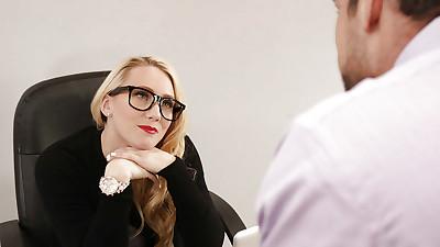 Glasses clad blonde secretary AJ..