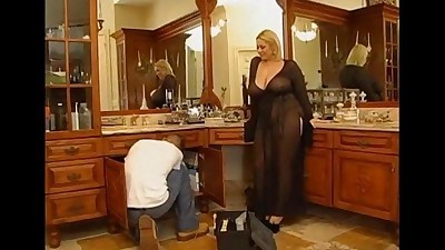 Horny BBW blonde gets nailed by a..