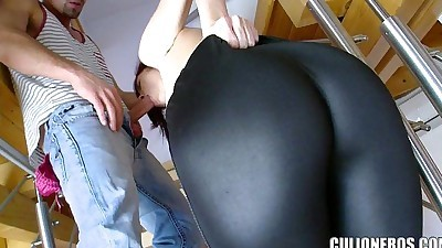 Tall Redhead gets on Her knees to..