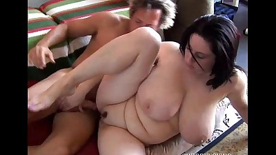 Beautiful busty BBW brunette is a..
