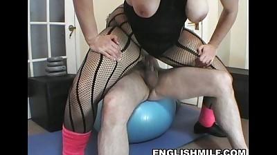Big ass English milf gym fuck