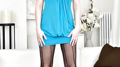 Pantyhose attired mature lady..
