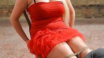 Big fatty Vicky in red dress tied..