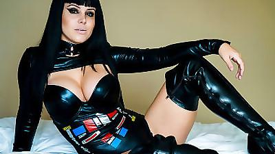 Goth girl Bryci in latex costume..