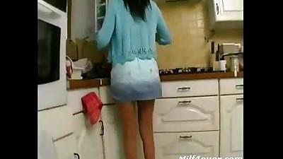 Skinny Milf Fucked In The Kitchen