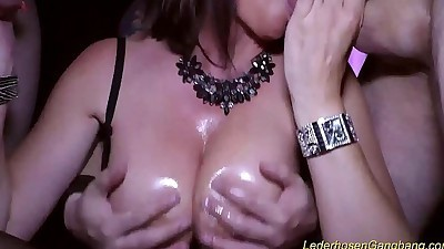 crazy gangbang with busty Milf..