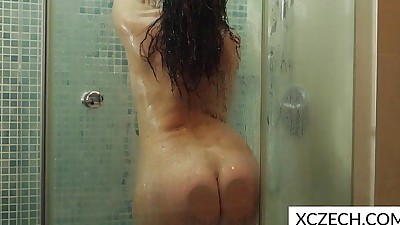 Erotic showering with super hot..