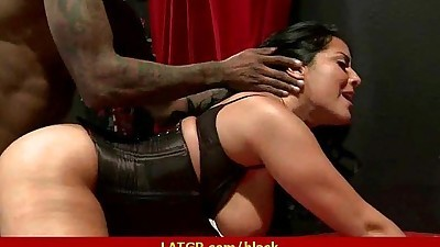 Big tit MILF riding big black..