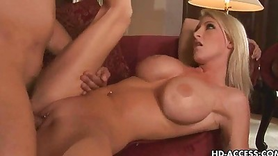 Blonde babe with big tits gets..
