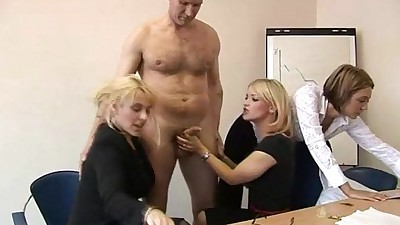 Blondes give offices blowjobs to..