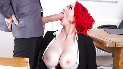 Busty redhead teacher in..