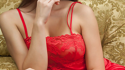 Delicious babe in a red nightgown..