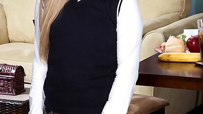 Schoolgirl Lexy doffs uniform to..