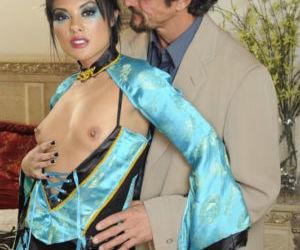 Asian MILF in fishnet pantyhose Kaylani Lei gets fucked..