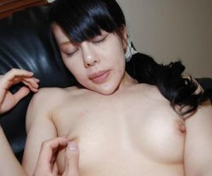 Asian slut with brunette hair Ruriko Furuse has her pussy..