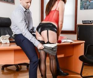 Stocking attired Lydia Lust fucking the boss at work and..