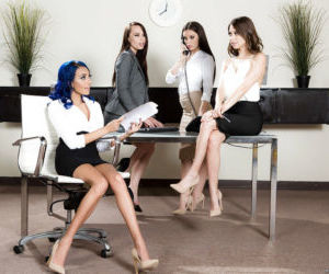 Leggy secretaries unleash big boobs during reverse..