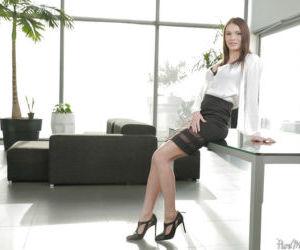 Mature secretary Kitana Lure modeling for babe photo shoot..