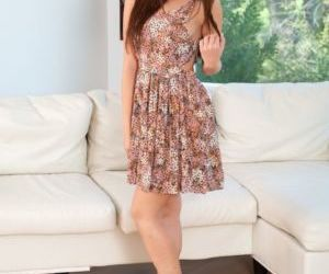 Sweet teen girl Jenna Sativa takes off her dress and..