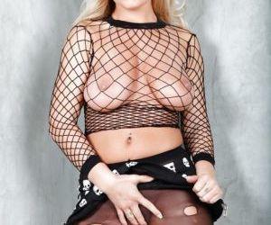 Blonde pornstar Jessica Moore spreading MILF vagina and..