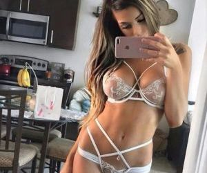 Picture- Brunette in Beautiful White Lingerie - Mirror..