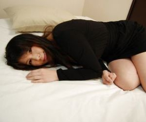 Top-heavy asian MILF Izumi Hori stripping down and toying..