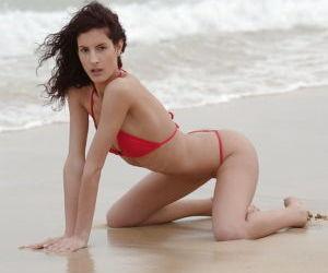 Fabulous babe pornstar takes off her bikini panties and..