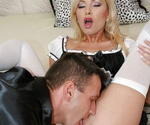Slutty maid has some pussy licking and anal fucking fun..