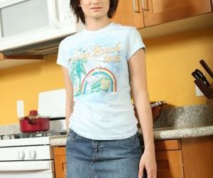 Smiley amateur in jeans miniskirt undressing and exposing..