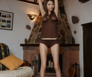 Erotic teen Mila pinches her nipples and exposes her horny..