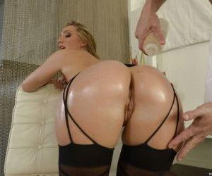 Blonde beauty AJ Applegate having her big ass oiled-..
