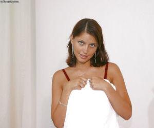 Beautiful amateur teen Marketa takes off her lingerie..