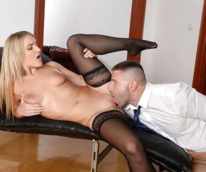 Beautiful blond secretary Jemma Valentine receives oral..