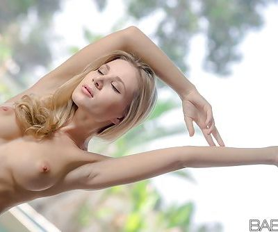 Thin blonde beauty Candy demonstrating perky boobs and tight butt - part 2
