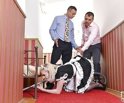 Sexy blonde in maids uniform Carly Rae giving rimjob and sucking cock
