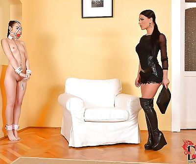 Lesbian fetish girl Honey Demon prepares anal task for Stacy Snake