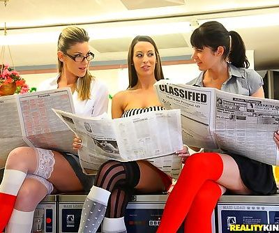 Three fully clothed MILFs milking three big cocks in the laundry