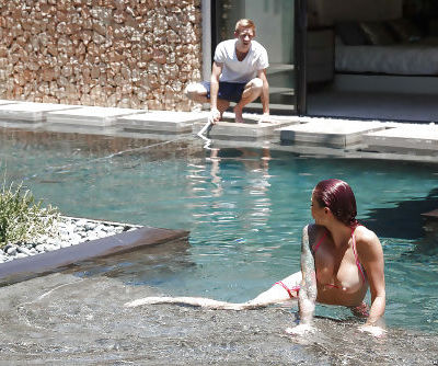 Tattooed MILF pornstar Monique Alexander sucks off big dick in pool and inside