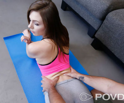 Alex Blake is stripped to her leg warmers during yoga for sex by her man